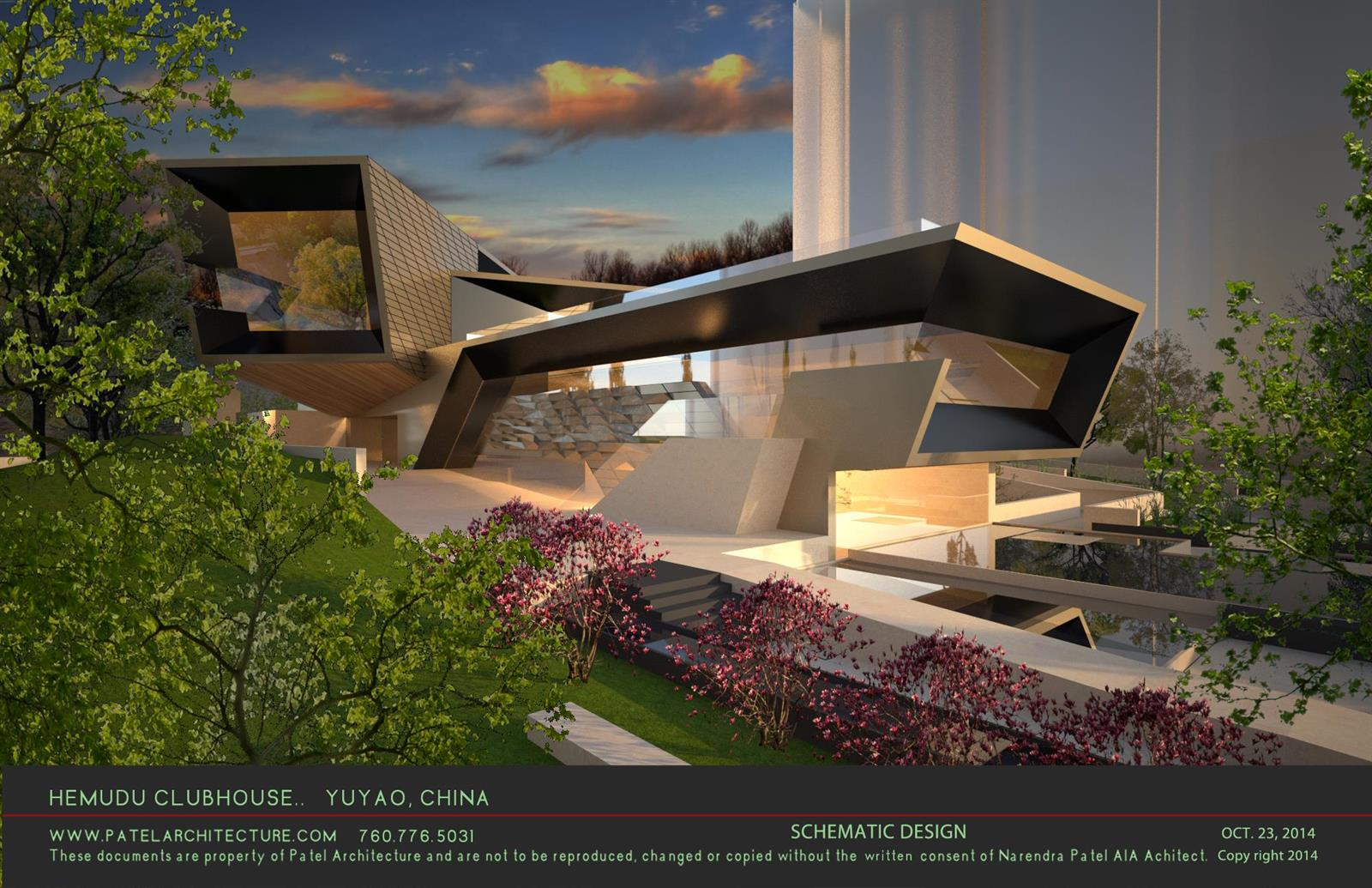 Modern green architecture public civic modern green for Clubhouse architecture design